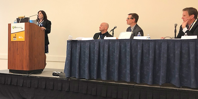 panel of speakers at isc west drone session